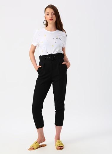 Only Only Limon Desenli Beyaz T-Shirt Beyaz
